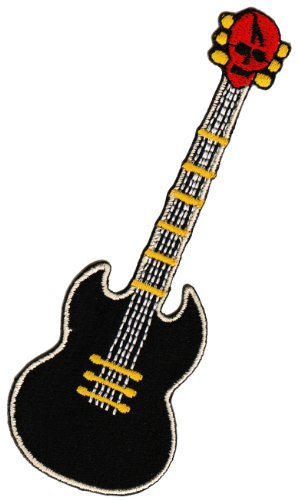 Aufnäher Bügelbild Aufbügler Iron on Patches Applikation Gitarre Totenkopf