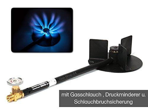 Hochleistungsbrenner 14 kW / Propan Hockerkocher + Anschlusszubehör - Gaskocher MADE IN GERMANY (z.B. für Räucherofen, Bierbrauen, Wurstkessel, Fleischerei, Gulaschkanone) - Gasbrenner f Kochkessel