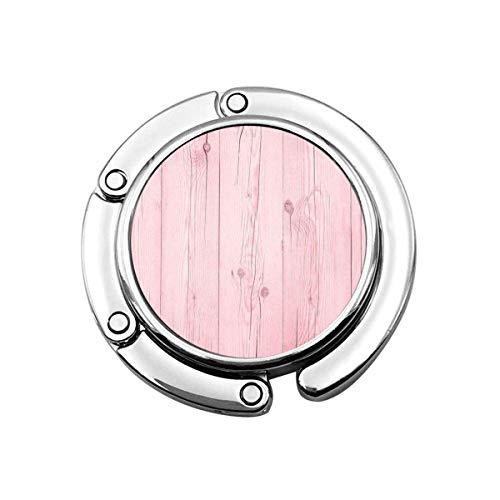 Netter Faltbarer Geldbeutel-Aufhänger für Tisch, Geldbeutel-Haken rosa Holz-Boden-Dielen-Muster Pastellwand-graues Brett