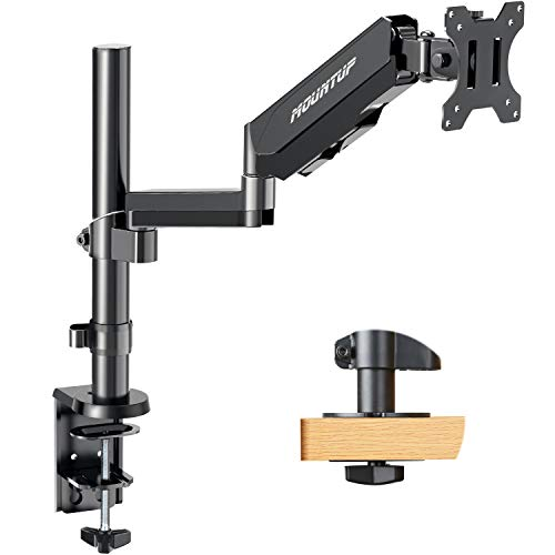 MOUNTUP Single Monitor Mount, Height Adjustable Gas Spring Monitor Arm Desk Mount for 17-32 Inch Computer Screens, Swivel Monitor Stand Holds 2.2-17.6 lbs, Fits VESA 75x75mm & 100x100mm