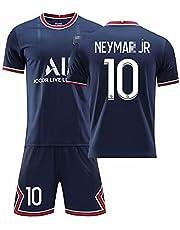 21-22 Paris Home/Away voetbalshirt No.7#Mbappé # No.10 Neymar # No.11 Di María Shirt met korte mouwen + Shorts Set voor volwassen en kindermaten Voetbaltrainingskleding