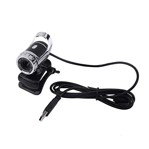 T best HD Webcam Camera, USB 2.0 12M Pixels Clip-on Web Camera 360° Rotating Stand Webcam Camera Built-in Microphone for PC (Silver)