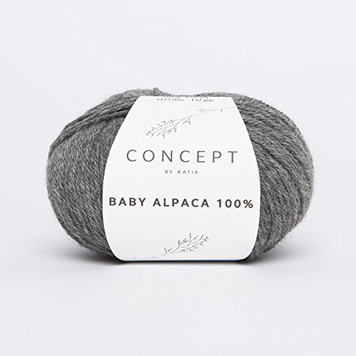 Katia Otoño/Invierno 2017. 50g Concept Baby Alpaca 100%–Color 504Mittelgrau–Basic Hilo Que de Fina Lana de Alpaca está Fino de Nudos de Lana de Alpaca Puro