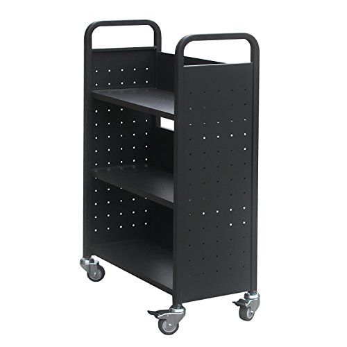 H&A Rolling Book Cart Home Office Library Book Truck Flat Storage Organizer Shelves 200lbs Capacity (Black)