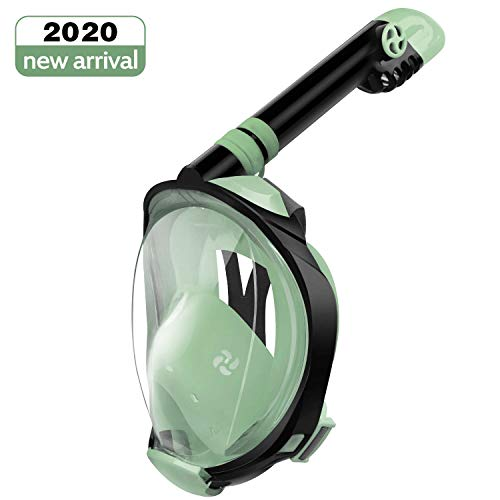 Letsport Upgraded Full Face Snorkel Mask for Adults Kids, Anti-Leak Anti-Fog Snorkeling Mask with Latest Dry Top System, Detachable Camera Mount, Earplug, Folding 180 Degree Panoramic View Diving Mask