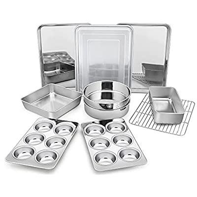 Amazon - 40% Off on Bakeware Sets of 11,Stainless Steel Baking Pans Set, Includes Baking Sheets