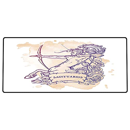 Alfombrilla de ratón para Juegos 800x400x3mm,Zodíaco Sagitario, Rosas y Arquero centauro de Pelo Largo sobre Fondo Grunge teñido, Beige y Mora Base de Goma Antideslizante, Adecuada para Jugadores