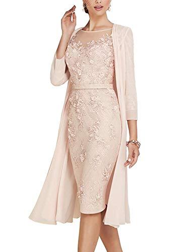 ShineGown Rundhalsausschnitt Mutter der Braut Kleid für Brautmutter mit Langen Ärmeln Jacke Knielänge