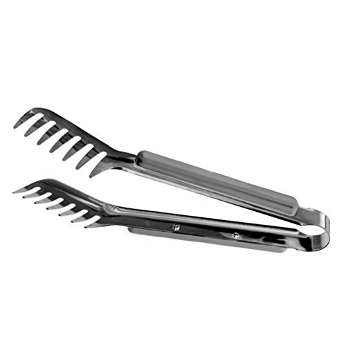 HornTide Stainless Steel Pasta Tongs Pack of 2 Piece Teethed Ends Design for Spaghetti Noodle Pastry Kitchen Serving Tong Set 9-inch