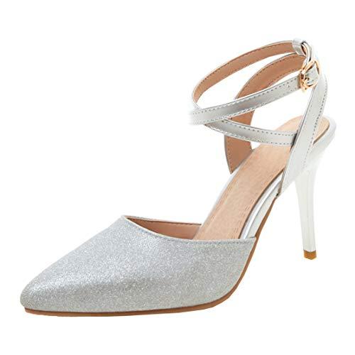 MISSUIT Damen Ankle Strap Spitze Stiletto Sandaletten Glitzer High Heels mit Riemchen Damenschuhe(Silber,34)