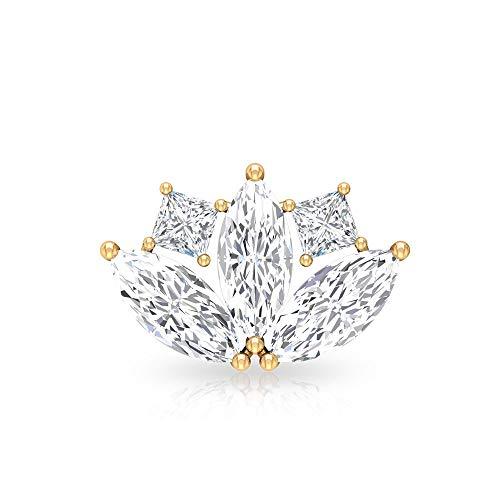 Pendientes de diamante en forma de marquesa, certificado SGL 0,54 ct, con corte princesa, pendientes escaladores, pendientes de orugas, joyería del cuerpo, Oro amarillo Espalda plana, Única pieza 6mm