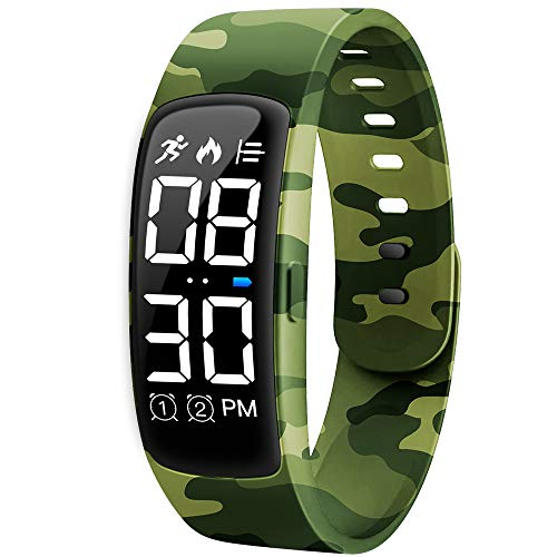 Kids Fitness Tracker Watch, AKIVIDA Activity Tracker Pedometer Bracelet with Alarm Clock Calorie Step Counter Sport Watch Gift for Kids Girls Boys Teens (Camouflage Green)