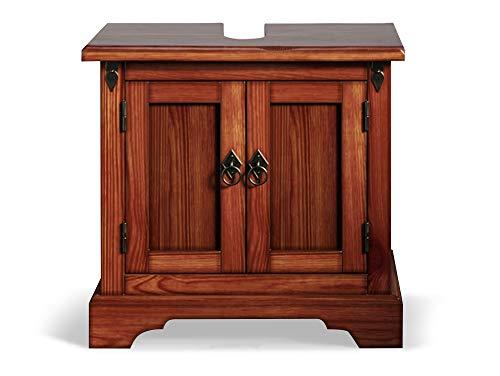 moebel-eins CESI Waschbeckenunterschrank, Material Massivholz, Pinie braun
