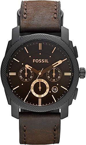 FOSSIL - Maschinen mittelgroßer Chronograph Braun Leder Edelstahl Uhr Stoppuhr und Timer-Funktionalität - FS4656