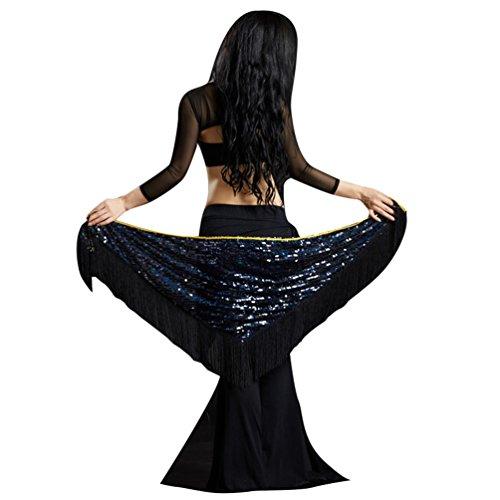 YuanDian Mujer Triángulo Cinturon Danza Del Vientre Cadera Pañuelo Bufanda Chal Lentejuelas Brillantes Borla Sirena Profesional Tribal Árabe Oriental Danza Ropa Accesorios Negro