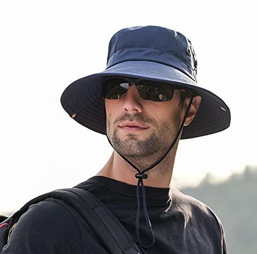 LONGSAND Sombrero Plegable con protección UV, Gorra de Pescador, Sombrero de Vaquero de Verano para sombrilla Unisex, para Salidas, al Aire Libre (con Correa a Prueba de Viento),Azul,56~58cm