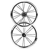 zhoul Juego de Llantas de Bicicleta Plegables de aleación de Aluminio de 16 Pulgadas, Juego de Ruedas de Bicicleta con Freno en V, 2 Traseros, 5 rodamientos(Black)