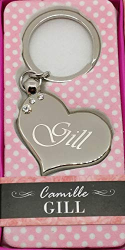 Heart Shaped Silver Colour Keyring with Crystals With Names from letter G & H By Sterling Effectz (Gill)
