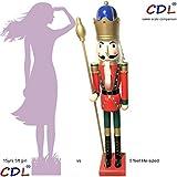 CDL XL/5 pies/150 cm/5 pies/5 pies/150cm tamaño natural grande/gigante rojo Navidad de madera Cascanueces rey y ornamento de soldado muñeca regalo Escaparate/Casa Decorativo K18