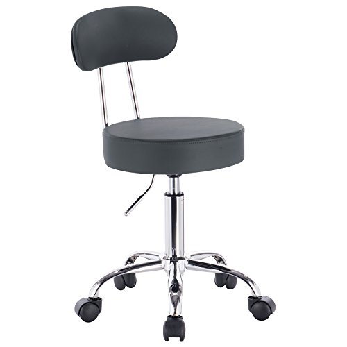 WOLTU® 1 Stück Arbeitshocker Drehhocker Rollhocker Drehstuhl Hokcer Bürostuhl mit Lehne höhenverstellbar Grau BH34gr-1