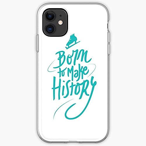 Compatibile con iPhone 12/11 Pro Max 12 mini SE X/XS Max XR 8 7 6 6s Plus Custodie Ice Skating Lettering Make Plisetsky Yuuri to History Yuri On Born Anime Katsuki Custodie per Telefoni Cover