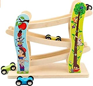 Sponsored Ad – Toddler Toys Race Track, Wooden Race Track Car Ramp Racer With 4 Mini Cars, Educational Creative Toddler To...