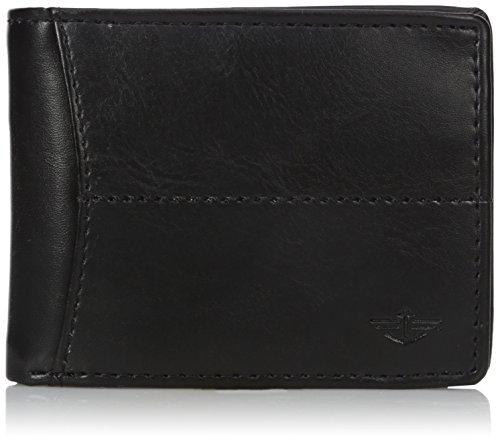 Dockers Herren-Portemonnaie aus Leder – dünn, schlank, RFID-Blockierung, Sicherheit, intelligent, extra Kapazität - Schwarz - Einheitsgröße