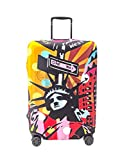 Periea Premium Elasticated Suitcase Luggage Cover - 38 Different Designs - Small, Medium or Large (Large, Pop Art Statue of Liberty)