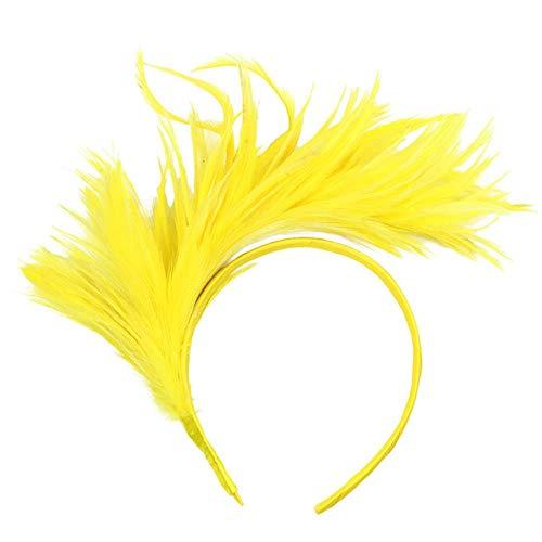 FHKGCD Bandeau Burlesque Coloré Flapper Plume D'Autruche Fancy Headband Flapper Headpiece Accessoires De Cheveux Femme, Jaune,