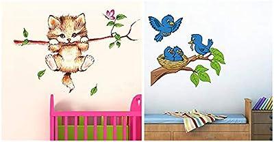 Decals Design 'Little Catty on Branch' Wall Sticker (PVC Vinyl, 60 cm x 45 cm, Multicolour) & 'Birds Feeding' Wall Sticker (PVC Vinyl, 70 cm x 50 cm),Multicolour Combo
