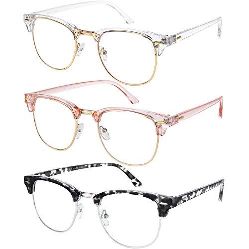 Blaulicht-Brille für Damen und Herren, halbrandlos, halber Rand, Computer-Brillen, 3 Stück, Kristallgold, transparent rosa gold, blau gold