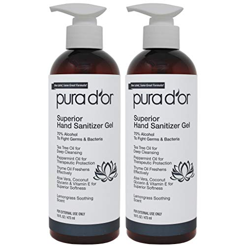 PURA D'OR Hand Sanitizer Gel LEMONGRASS Scent 2 PACK-16oz...