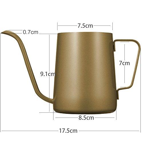 kslong ステンレス製の手パンチポットコーヒーポット長い口のポット細かいオープニングポットコーヒーケトルグースネックポット ゴールド、350ミリリットル 350ミリリットル ゴールド