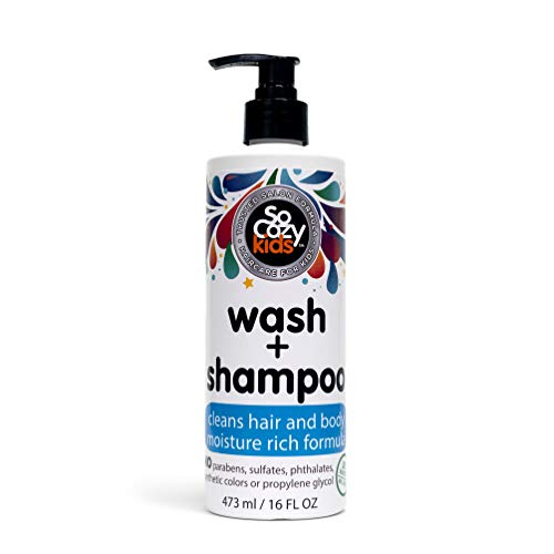 SoCozy Wash + Shampoo | For Kids Hair | Cleans Hair and Body | 16 fl oz | No Parabens, Sulfates, Synthetic Colors or Dyes