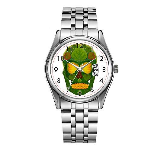 Men's Fashion Silver Steel Bracelet Japanese Quartz Watch for Men Date Week Display Luminous Hour Casual Wrist Watch Aspen Leaf Skull 9 Watches -  WYFC, K-S-1-853-102