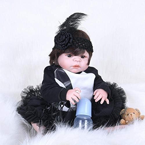 Hongge Reborn Baby Doll,Lebensechte Silikon Reborn Puppe lebensecht Baby voll Silikonkleber Puppe Weißnachten Geburtstag 55cm