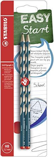 Schmaler Dreikant-Bleistift für Rechtshänder - STABILO EASYgraph S in petrol - 2er Pack - Härtegrad HB