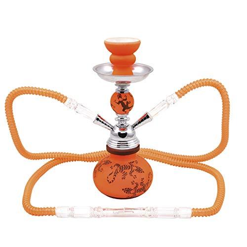 MADGROW. Cachimba SALAMANDRA. Naranja. Shisha de 25 cm. 2 mangueras. SÚPER Pack Tubo de 10 Pastillas de carbón + Set 10 boquillas XXL Silicona.