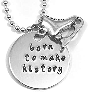 Born To Make History Hand Stamped Yuri On Ice with Skate Charm Necklace