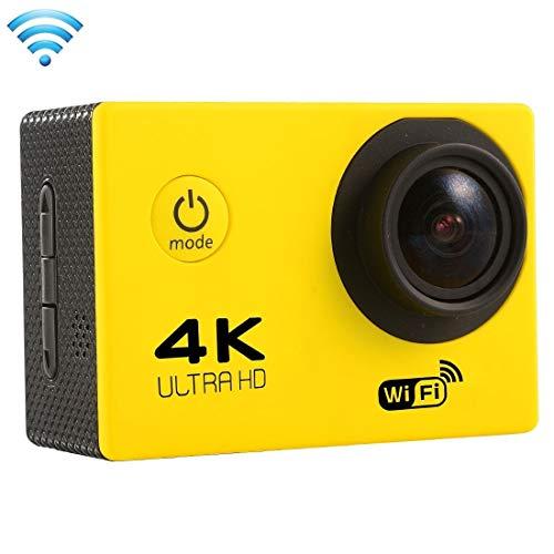 Ychaoya F60 2,0-inch scherm 4K 170 graden groothoek WiFi Sport Action Camera Camcorder met waterdichte behuizing, ondersteuning 64 GB Micro SD-kaart (zwart), geel