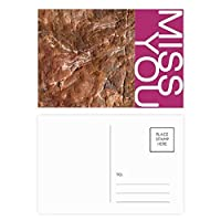 茶色の岩粗面パターン ポストカードセットサンクスカード郵送側20個ミス
