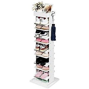 COSTWAY Zapatero Giratorio de 360 ° Zapatero de 9 Niveles Organizador de Zapatos con Ganchos para Entrada Pasillo Color Blanco