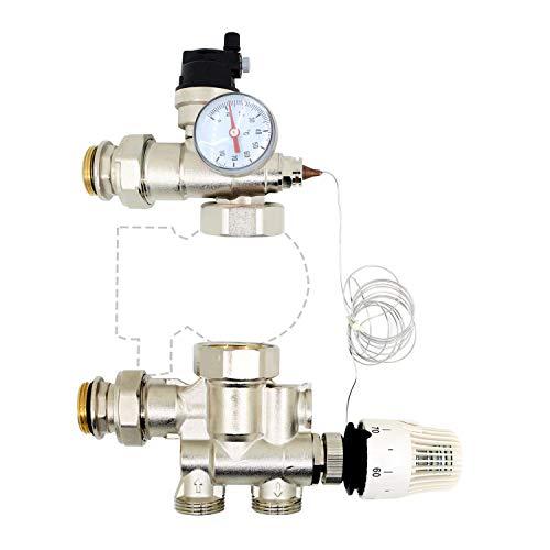 kit grupo bombeo calefacción de valvula alivio presion seguridad cabeza termostatica termometro recirculacion agua caliente - para bomba recirculacion calefaccion colector suelo radiante