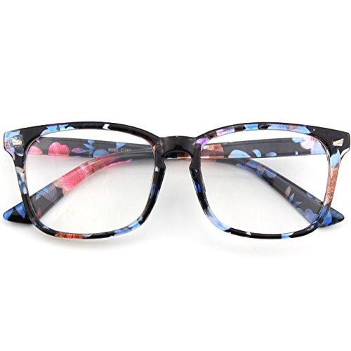 CGID CN82 Montatura Occhiali da Vista Donna Uomo Protezione UV400 Occhiali Grandi Oversize Montatura in Corno Lenti Chiare