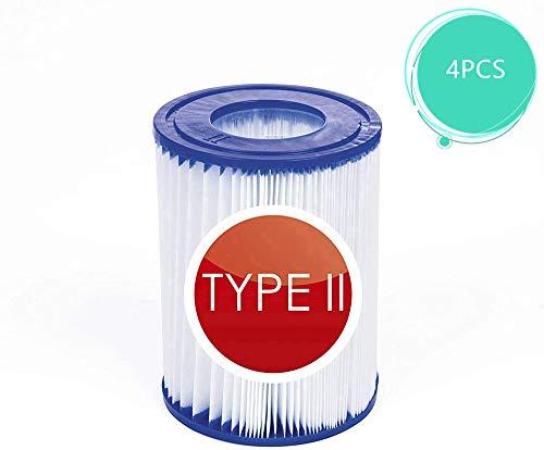 JYWJ Pool Filterkartusche für Bestway Größe 2, Spa Ersatz Aufblasbarer Poolreinigungsfilter Zubehör für Bestway 58094 Filterkartuschen Gr.II und Schwimmbad 530/800 gal/h Filter. (4 Stück)