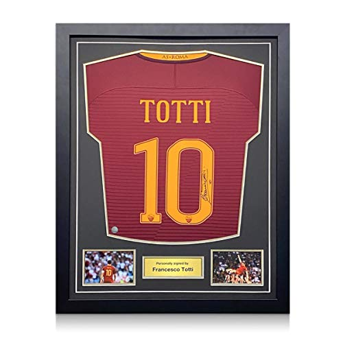 exclusivememorabilia.com Camiseta de fútbol del AS Roma firmada por Francesco Totti. Marco estándar