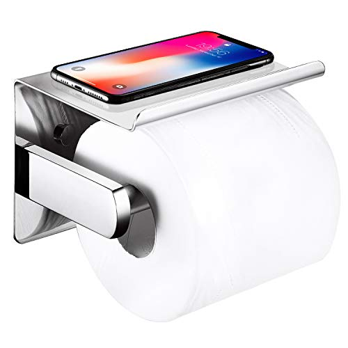 Pretigo Toilet Paper Roll Holder, Self Adhesive Toilet Paper Roll Holder with Phone Shelf, Wall Mounted Without Drilling, Polished Stainless Steel Paper Holder