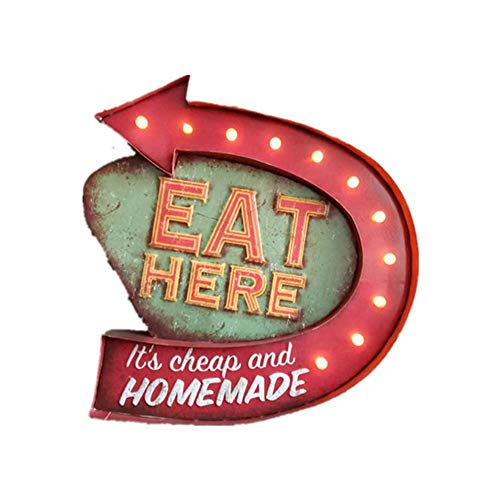 HS-HWH219 Cafe Bar Light Signage Creatieve Retro Wand- LED Decoratie Restaurant Nachtlampje Indicator metalen lamplichaam achtergrond wanddecoratie