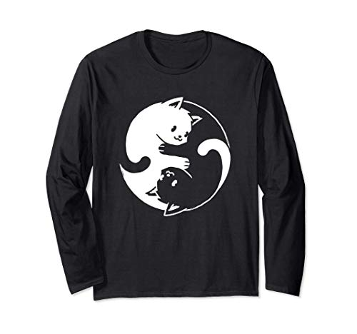 Gato Yin Yang Cat Shirt Regalo de Gato Cat Lover Yoga Cat Manga Larga