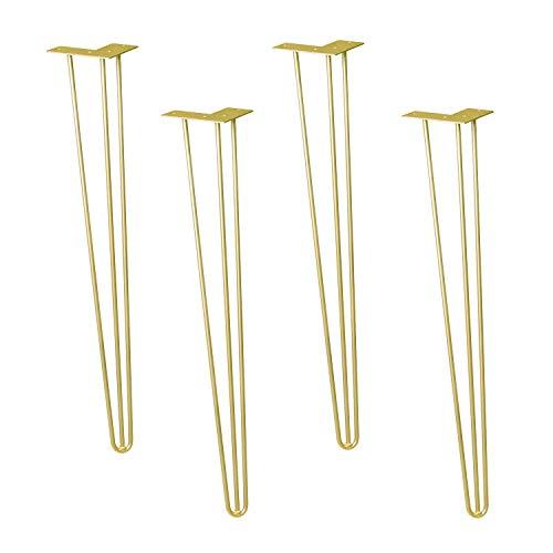 WAGNER Möbelbeine/Tischbeine/Möbelfüße - HAIRPIN LEGS 4er Set - Retro - Stahl pulverbeschichtet gold matt, 12 x 12 x 71 cm, Beine konisch/schräg verlaufend, integrierte Anschraubplatte - 12827504